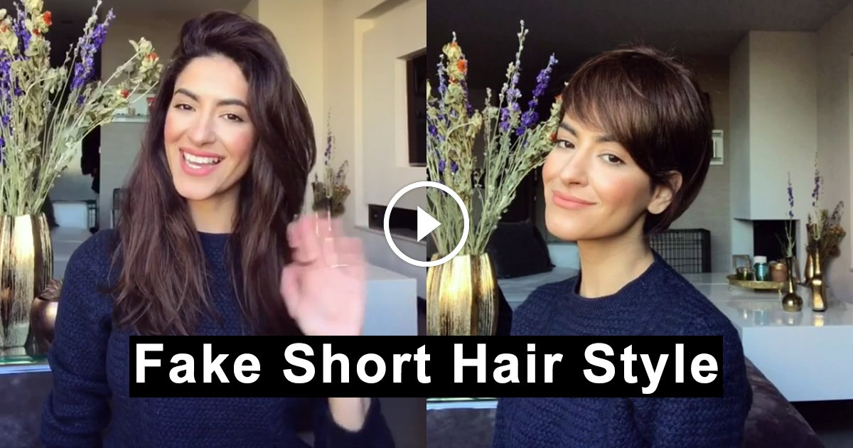 How To Fake Stylish Faux Pixie Haircut With Your Long Hair