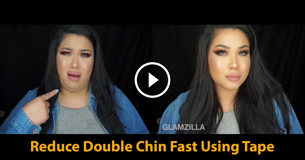 Reduce Double Chin Fast Using Tape Instant Hack Effect