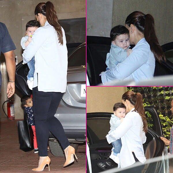 Kareena Kapoor khan with son in Tushar Kapoor son Lakshya birthday bash