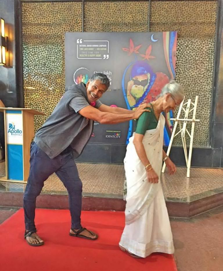 Milind Soman with her Mother on Mother's Day